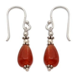 Handcrafted Sterling Silver 'Fire' Carnelian Earrings (India)