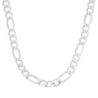 Fremada 10k White Gold High Polish Figaro Chain Necklace (20 or 24 inch)