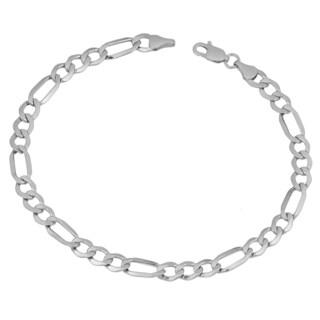 Fremada 10k White Gold High Polish Figaro Link Bracelet (8.5 inch)