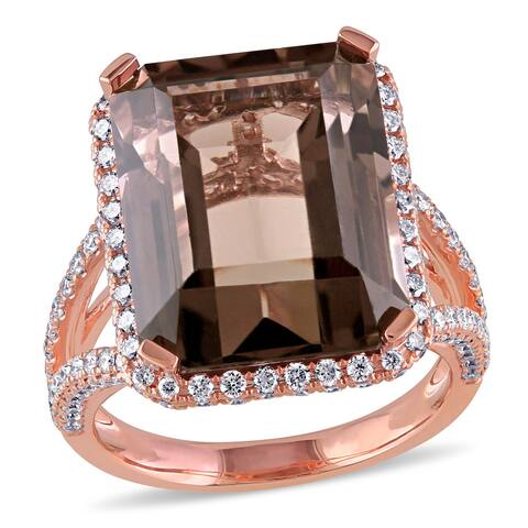Miadora Signature Collection 14k Rose Gold Smokey Quartz and 1.5ct TDW Diamond Cocktail Ring (G-H, SI1-SI2)