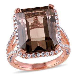 Miadora Signature Collection 14k Rose Gold Smokey Quartz and 1.5ct TDW Diamond Cocktail Ring (G-H, SI1-SI2)