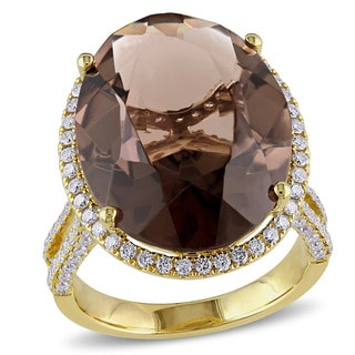 Miadora Signature Collection 14k Yellow Gold Smokey Quartz and 1ct TDW Diamond Cocktail Ring (G-H, SI1-SI2)