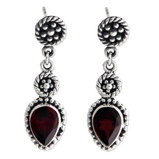 Sterling Silver 'Balinese Jackfruit' Garnet Earrings (Indonesia)