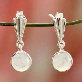 Sterling Silver 'Mumbai Serenade' Moonstone Earrings (India)