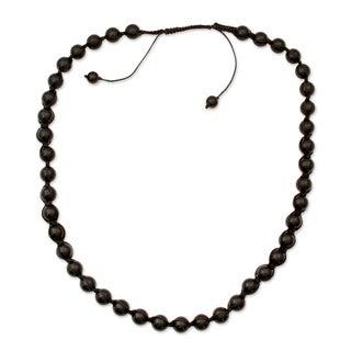 Handmade Cotton 'Rajasthani Night' Onyx Necklace (India)