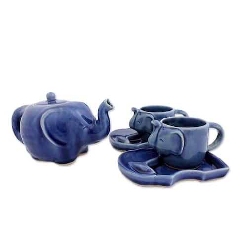Handmade Set of 2 Celadon Ceramic 'Blue Elephant' Tea Set (Thailand)