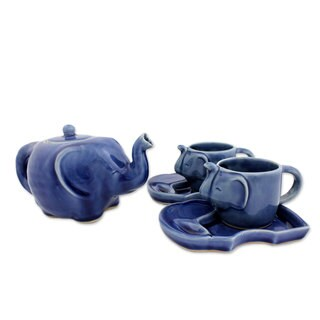 Set of 2 Celadon Ceramic 'Blue Elephant' Tea Set (Thailand)