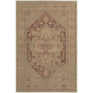 Antiqued Persian Tan/ Pink Rug (5'3 x 7'6)