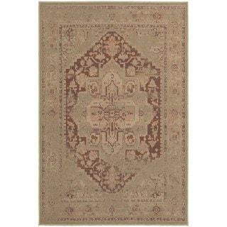 Antiqued Persian Tan/ Pink Rug (6'7 x 9'6)