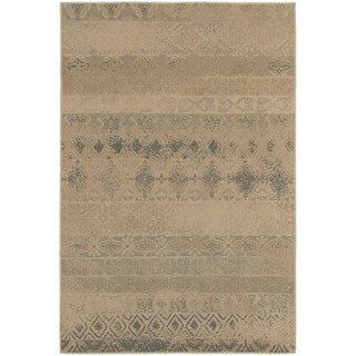 Eroded Transitional Tan/ Blue Rug (6'7 x 9'6)