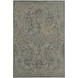 Distressed Oriental Blue/ Brown Rug (6'7 x 9'6)