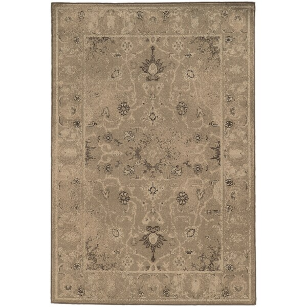 Weathered Traditional Tan/ Brown Rug (5'3 x 7'6)