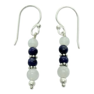 Silver 'Gujarat Skies' Moonstone Lapis Lazuli Earrings (India)