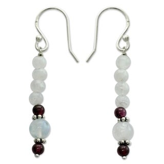 Sterling Silver 'Rajasthan Dancer' Moonstone Garnet Earrings (India)