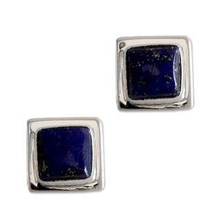 Handmade Sterling Silver 'Hindu Galaxy' Lapis Lazuli Earrings (India)