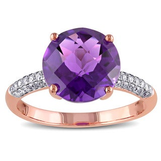 Miadora 14k Rose Gold Amethyst and 1/5ct TDW Diamond Cocktail Ring (G-H, SI1-SI2)