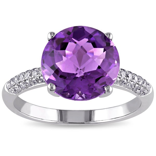 Miadora 14k White Gold Amethyst and 1/5ct TDW Diamond Cocktail Ring (G-H, SI1-SI2)