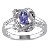 Miadora 10k White Gold Tanzanite and 1/6ct TDW Diamond Knot Ring (G-H, I1-I2)