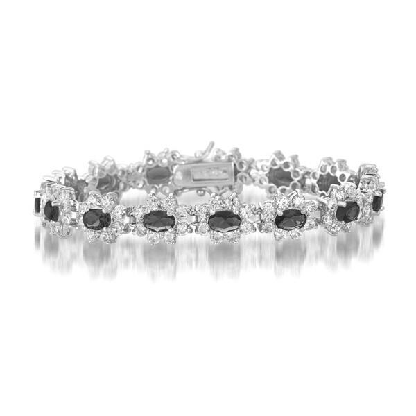 Collette Z Sterling Silver Black and White Cubic Zirconia Flower Bracelet