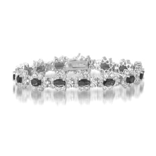 Collette Z Sterling Silver Black and White Cubic Zirconia Flower Bracelet