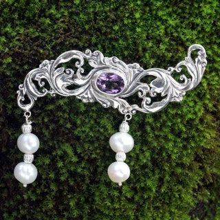 Sterling Silver 'Misty Dew' Pearl Amethyst Pin (5 mm) (Indonesia)