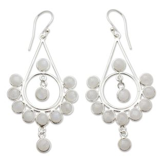 Handmade Sterling Silver 'Circles' Moonstone Earrings (India)