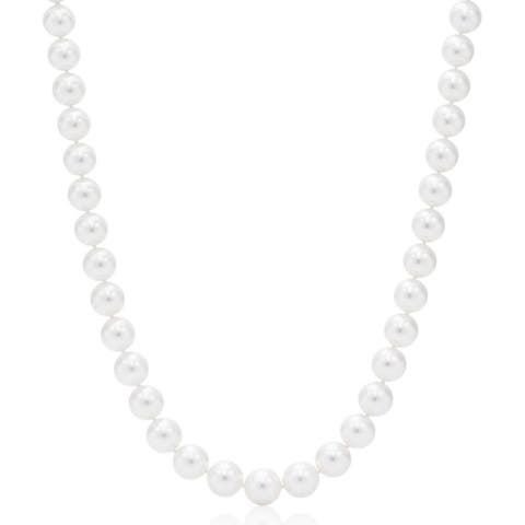 Suzy Levian 14k Yellow Gold White Freshwater Pearl Necklace (7 mm) - White Pearl, Yellow Gold