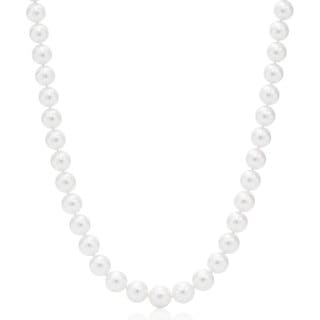Suzy Levian 14k Yellow Gold White Freshwater Pearl Necklace (9 - 9.5 mm)