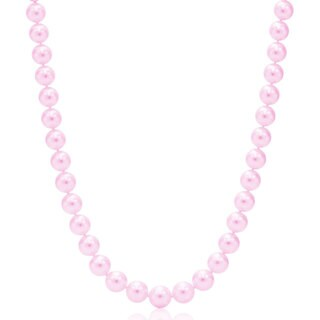 Suzy Levian 14k Yellow Gold Purple Freshwater Pearl Necklace (8 mm)