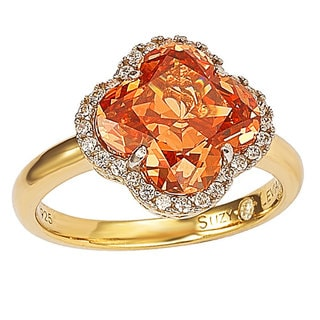 Suzy Levian Goldplated Sterling Silver Orange Cubic Zirconia Halo Ring