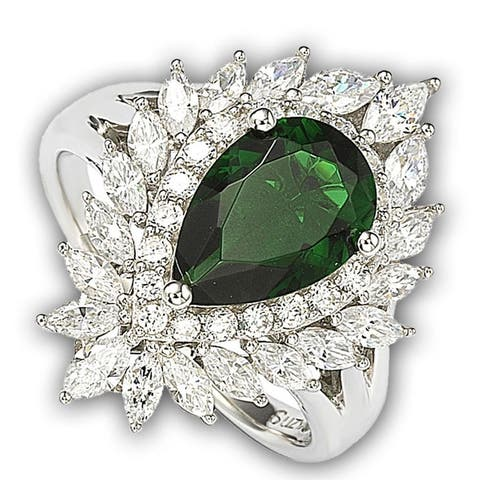 Suzy L. Sterling Silver and 18k Gold Simulated Emerald Ring