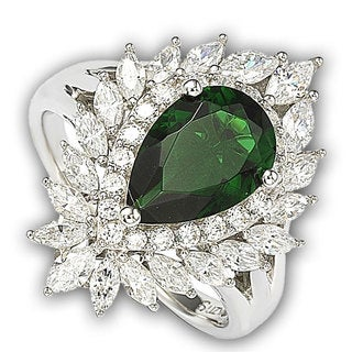 Suzy Levian Sterling Silver and 18k Gold Simulated Emerald Ring