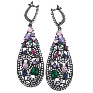 Suzy Levian Black Rhodium-plated Sterling Silver Cubic Zirconia Dangle Earrings