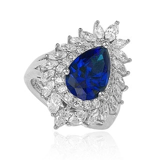 Suzy Levian 18k Gold and Sterling Silver Created Blue Sapphire Diana Ring