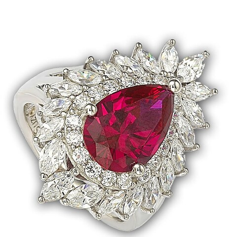 Suzy Levian 18k Gold and Sterling Silver Created Red Ruby Ring