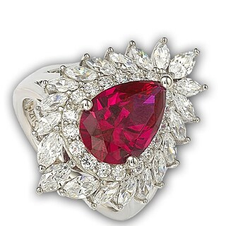 Suzy Levian 18k Gold and Sterling Silver Created Red Ruby Ring (More options available)