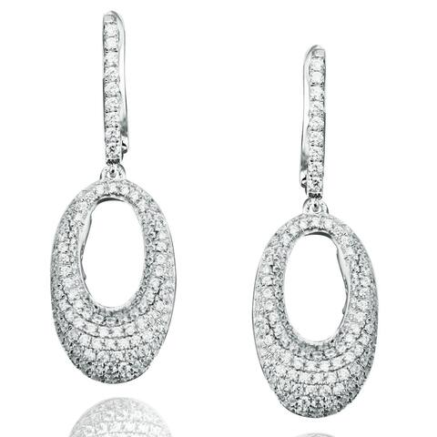 Suzy Levian Sterling Silver Cubic Zirconia Oval Dangle Earrings
