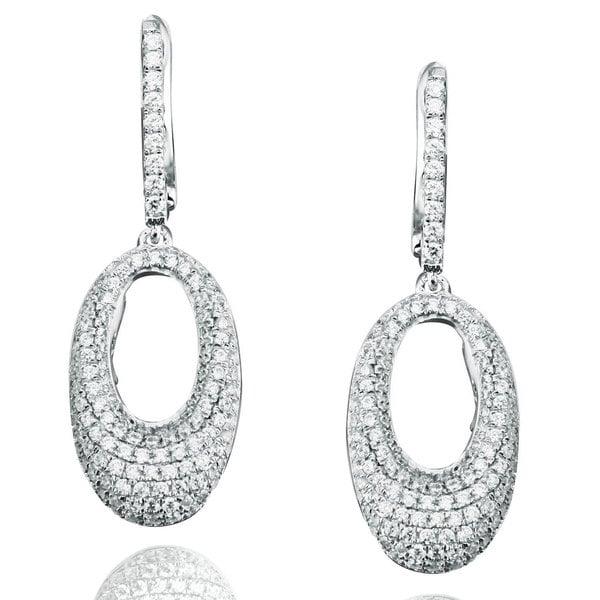 Suzy Levian Sterling Silver Cubic Zirconia Oval Dangle Earrings