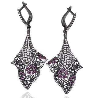 Suzy Levian Black Rhodium-plated Sterling Silver Pink and White Cubic Zirconia Floral Dangle Earrings