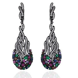 Suzy Levian Black Rhodium-ploated Sterling Silver Multi-colored Cubic Zirconia Wavy Cluster Earrings