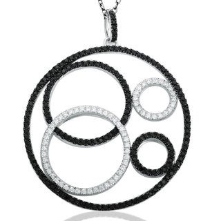 Suzy Levian Sterling Silver Black and White Cubic Zirconia Circle Necklace