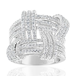 Suzy Levian Sterling Silver Cubic Zirconia Weaving Wide Band Ring (More options available)