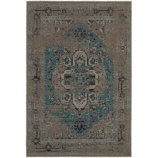 Traditional Distressed Overdyed Persian Grey/ Blue Rug (3'10 x 5'5)