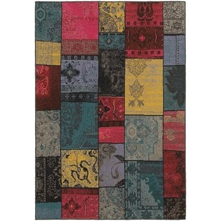 Distressed Overdyed Patchwork Multi/ Charcoal Rug (3'10 x 5'5)