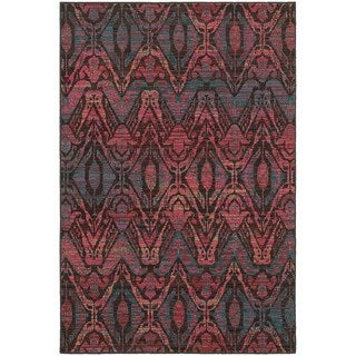 Overdyed Ikat Floral Brown/ Multi-colored Area Rug (3'10 x 5'5)