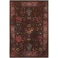 Traditional Distressed Overdyed Persian Brown/ Multi-colored Area Rug (3'10 x 5'5) - 3'10 x 5'5