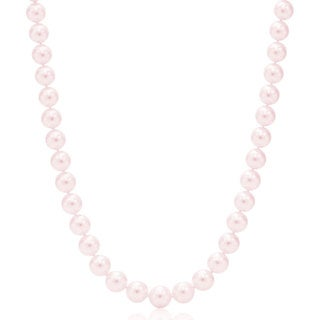 Suzy Levian 14k White Gold Faint Pink Freshwater Pearl Necklace (12 mm)