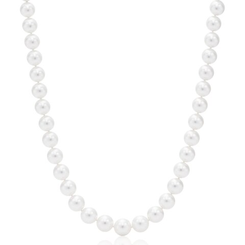Suzy Levian 14k Yellow Gold White Freshwater Pearl Necklace (10 mm) - White Pearl, Yellow Gold