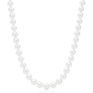 Suzy Levian 14k Yellow Gold White Freshwater Pearl Necklace (8 mm) - White Pearl, Yellow Gold