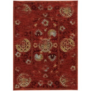 Distressed Oriental Red/ Gold Rug (3'10 x 5'5)